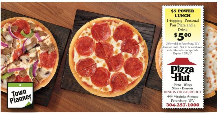 Pizza Hut 027290 5 Power Lunch Special 1 Topping Personal Pan Pizza And A Drink For Only 5