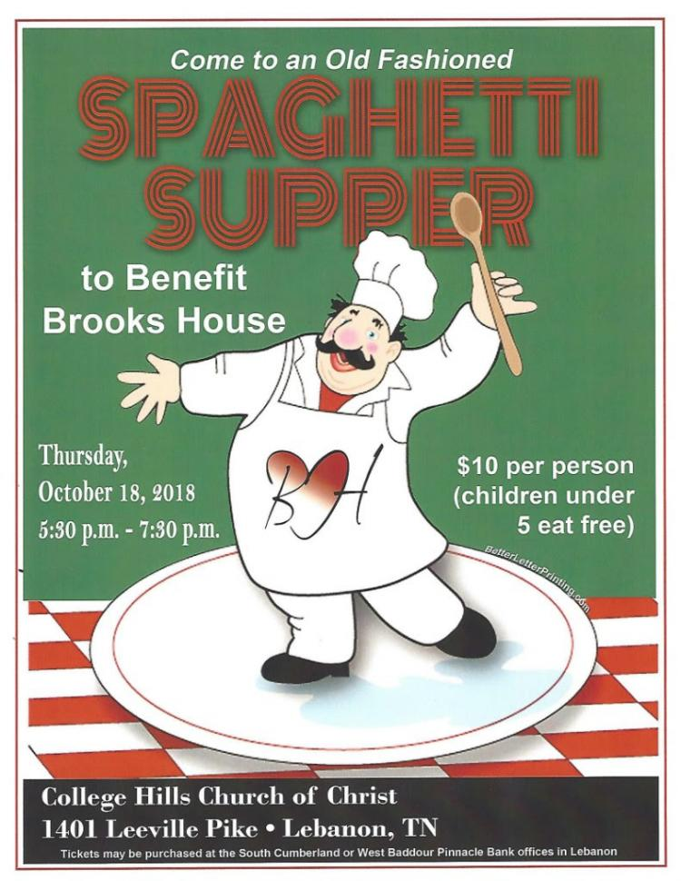 Spaghetti Supper to benefit Brooks House