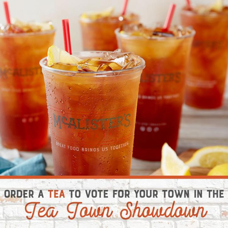 Tea Town Show Down Vote at McAlister's Deli for No Kid Hungry Charity