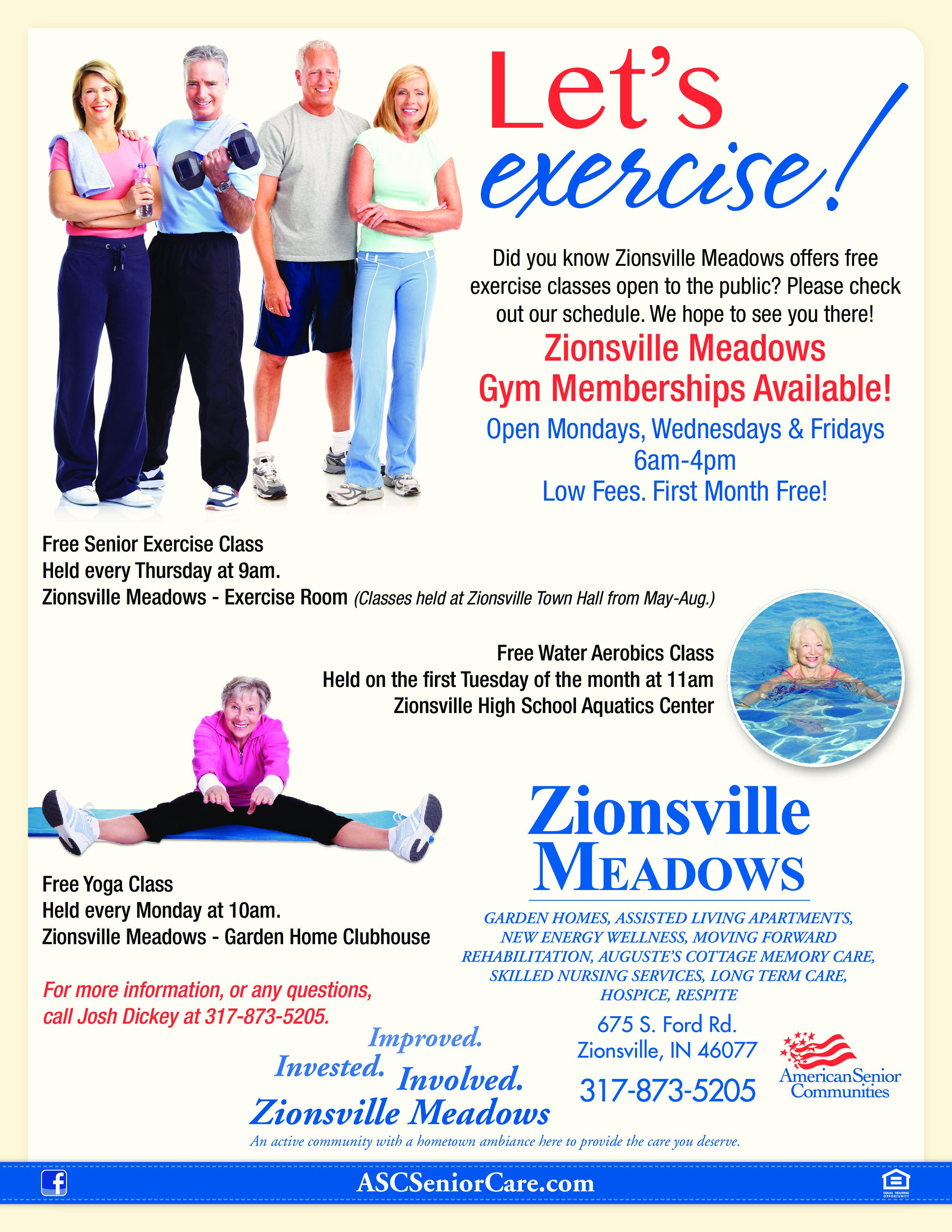 Free Senior Exercise Class at Zionsville Meadows