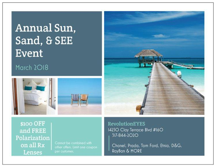 Annual Sun, Sand & See Event at RevolutionEYES in Clay Terrace!
