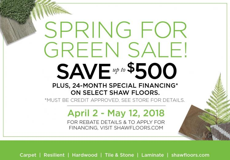 Spring For Green Sale at Kinsey's Floor Coverings in Noblesville