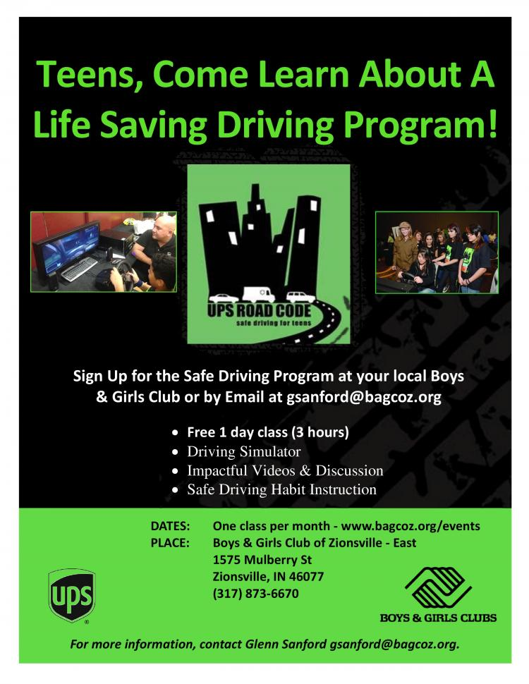 Free Safe Driving Course for Teens at Boys & Girls Club of Zionsville - East