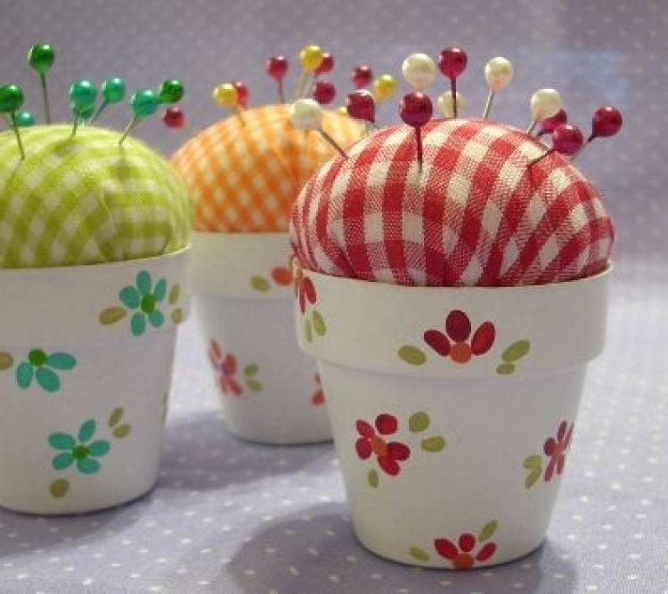 Adult Crafting: Flower Pot Pincushion at Fishers Library