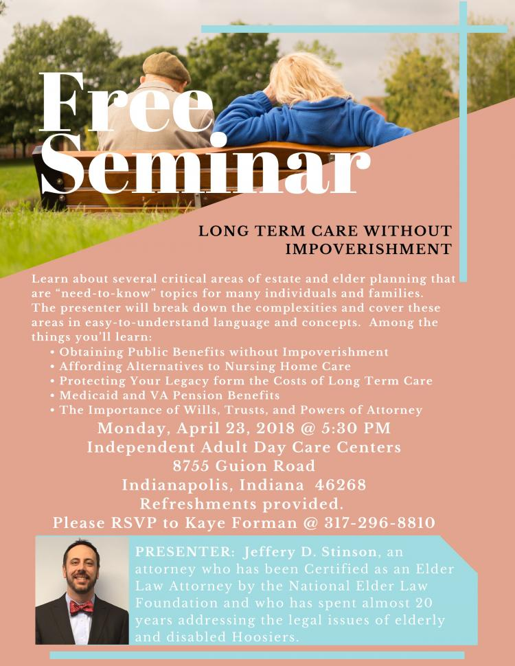 Long Term Care Without Impoverishment - Free Seminar!
