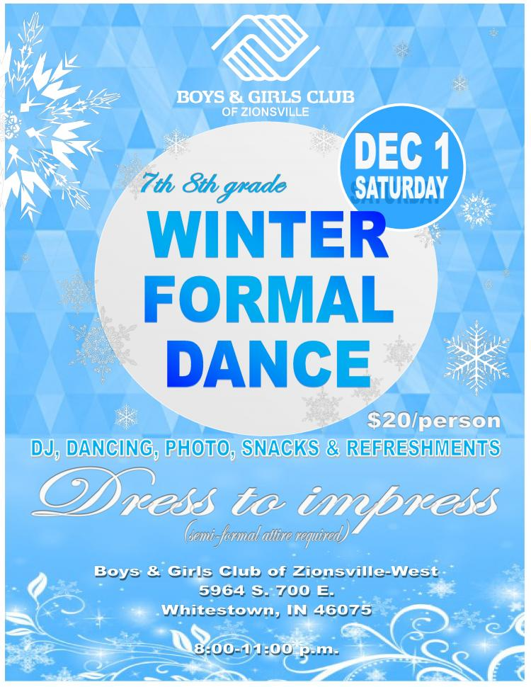 7th / 8th Grade Winter Formal Dance at Boys & Girls Club of Zionsville