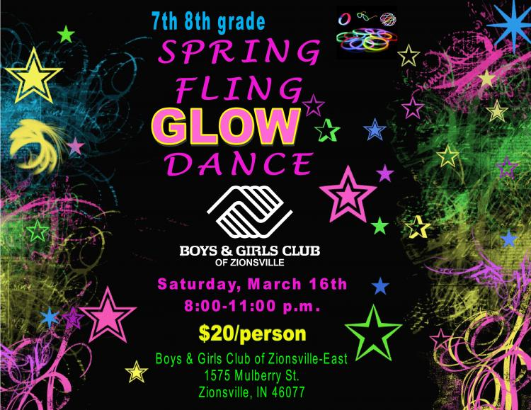 7th / 8th Grade Spring Fling Glow Dance at Boys & Girls Club of Zionsville