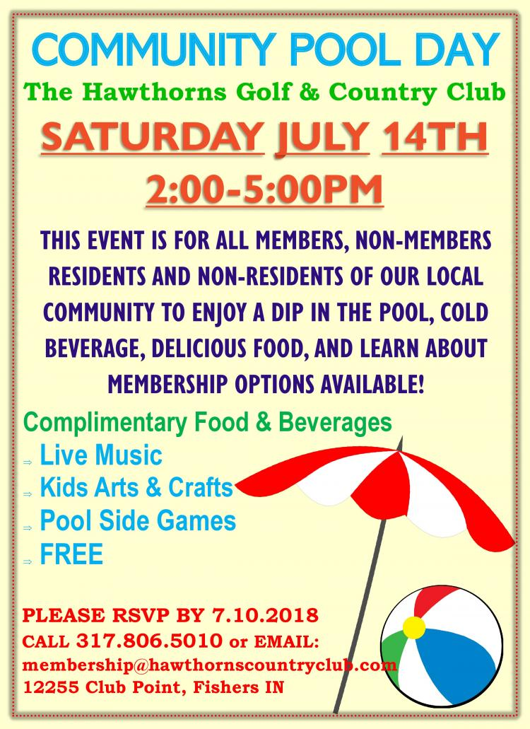 Community Pool Day at the Hawthorns Golf & Country Club in Fishers