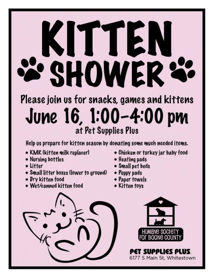 Kitten Shower for Boone County Humane Society at Pet Supplies Plus in Whitestown