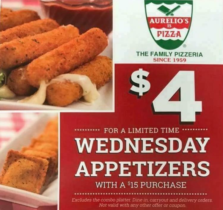Wednesday Appetizer Specials at Aurelio's Pizza of Fishers!