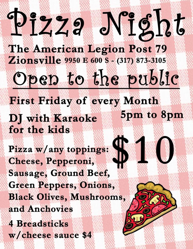 Pizza Night at Zionsville American Legion!