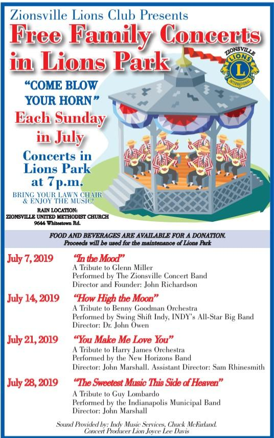 Free Sunday Concerts at Lions Park in Zionsville