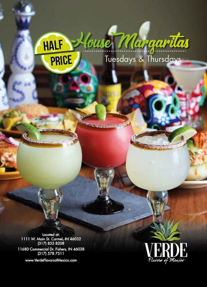 Half Price Margaritas at Verde, Flavors of Mexico!