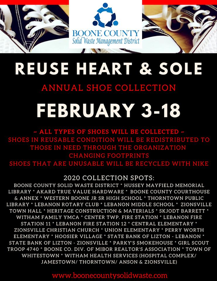 Reuse Heart & Sole Annual Shoe Collection in Boone County