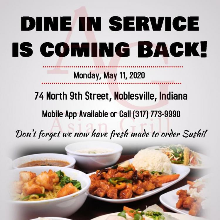 Asian Grill is OPEN for Dine In, Carryout, & Delivery!