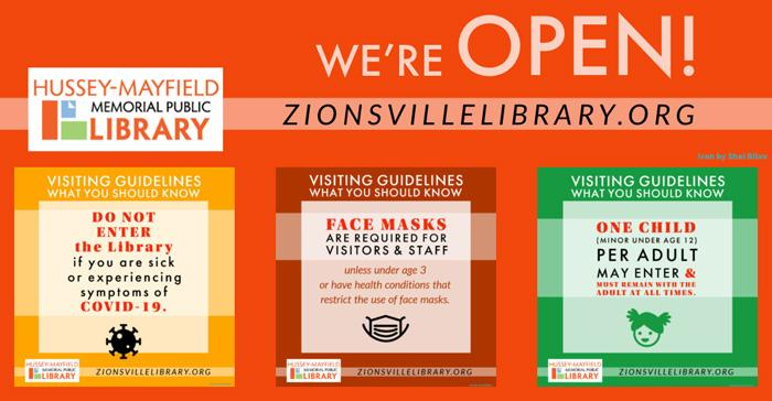 Zionsville Library is **REOPENED**