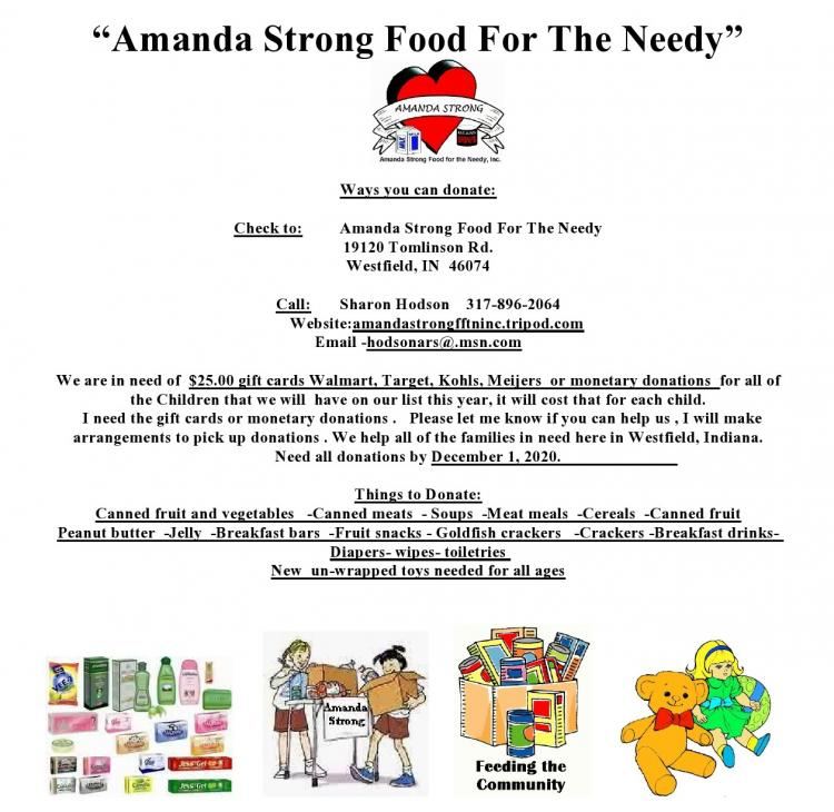 Amanda Strong Food for the Needy - Can you help?