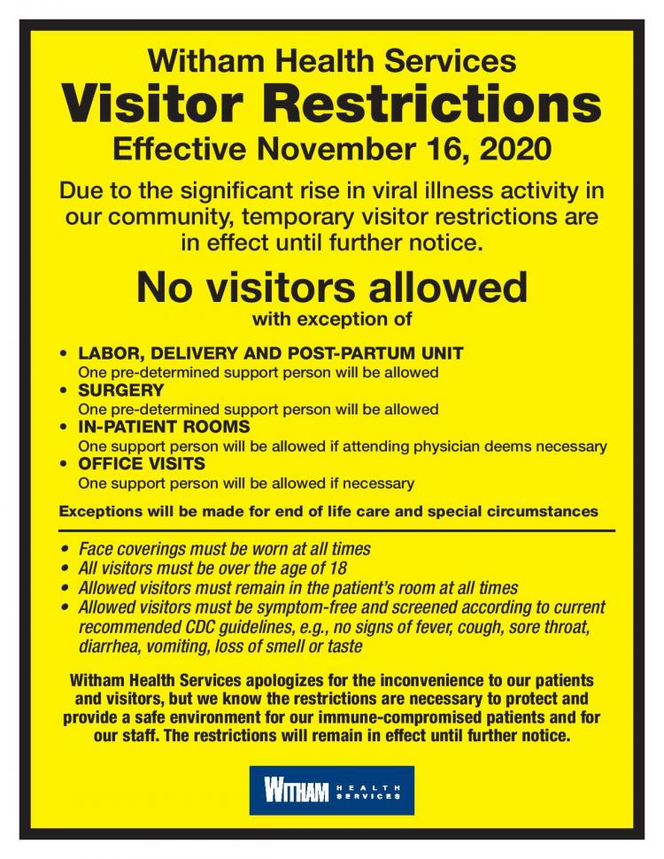 Witham Health Services is under Temporary Entry Restrictions
