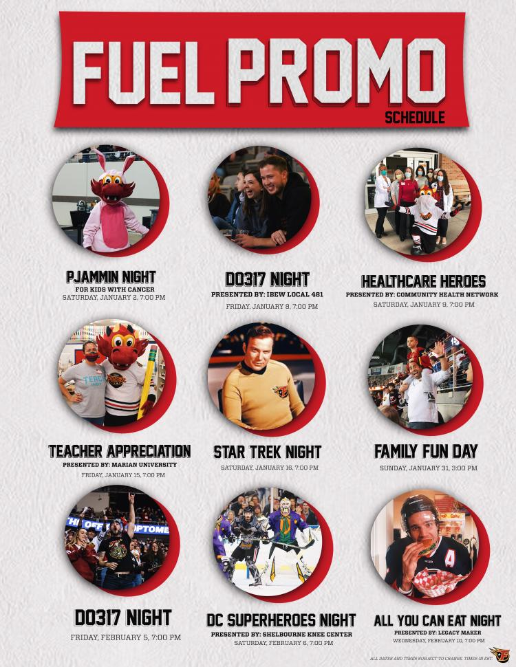 Indy FUEL Promo Schedule!