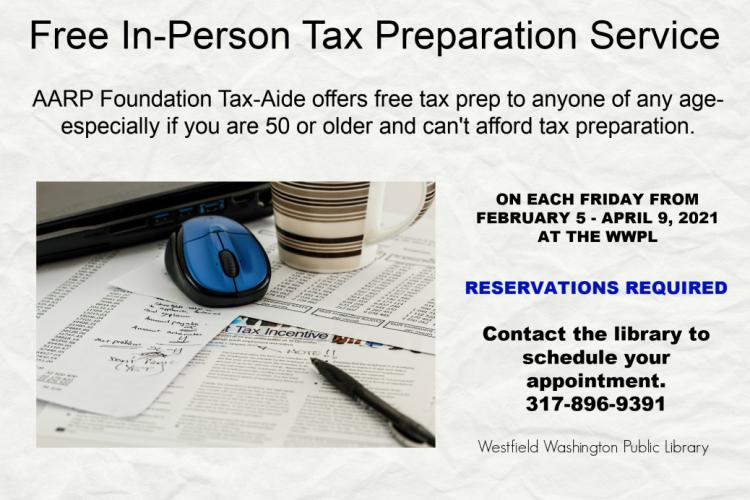 AARP Tax Aide by Appointment Only at Westfield Library