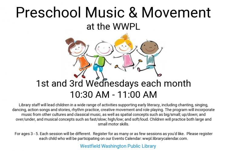 Preschool Music & Movement at Westfield Library