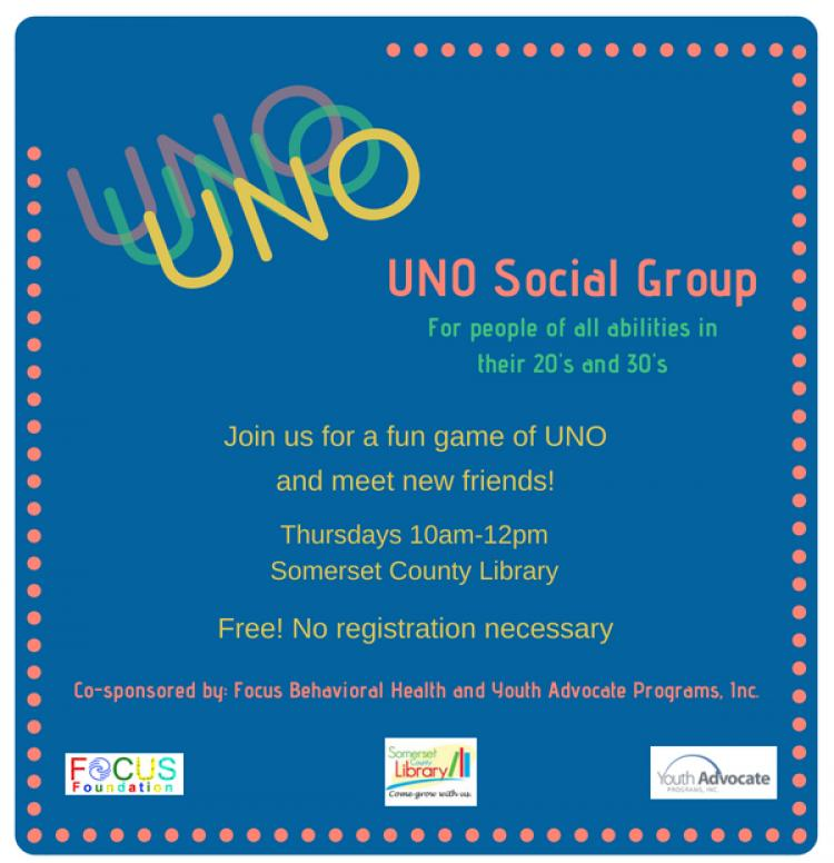 UNO Social Group, Every Thursday @ Somerset County Library, 10AM