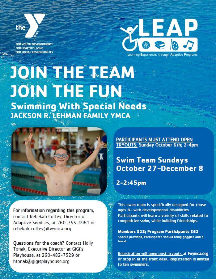 Swimming with Special Needs Swim Team