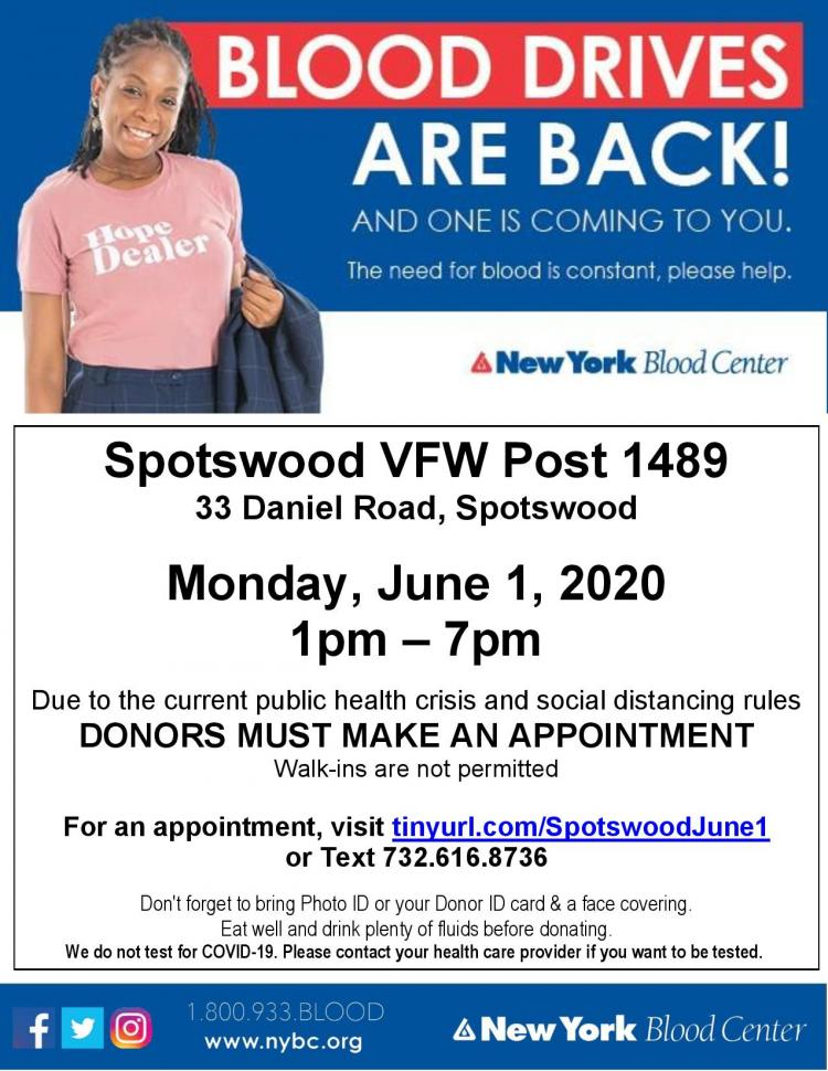 Spotswood Blood Drive-Urgent Need for Blood Donors (Appt needed)