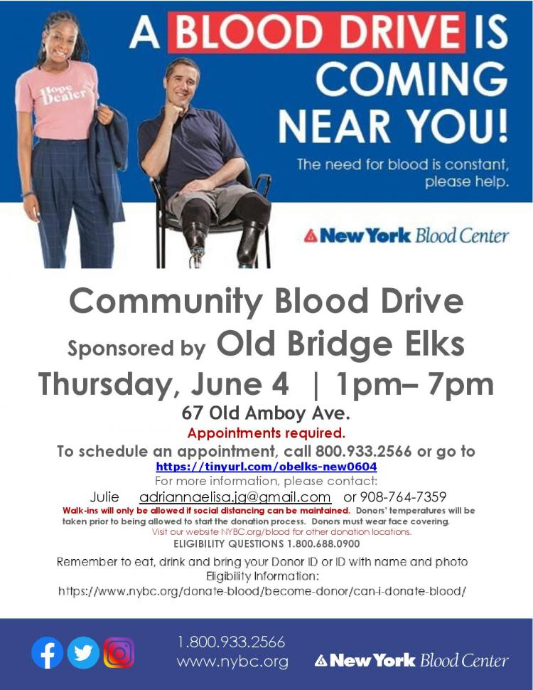Old Bridge Blood Drive - Urgent Need! Appointment Required