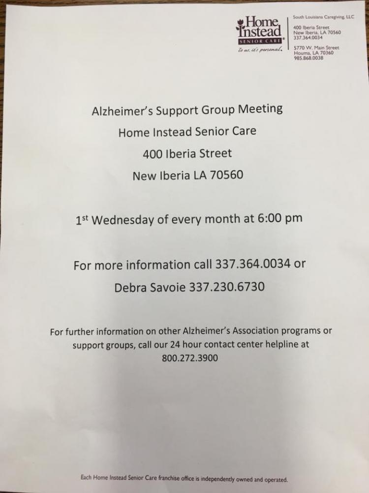 Alzheimer's Support Group Meeting