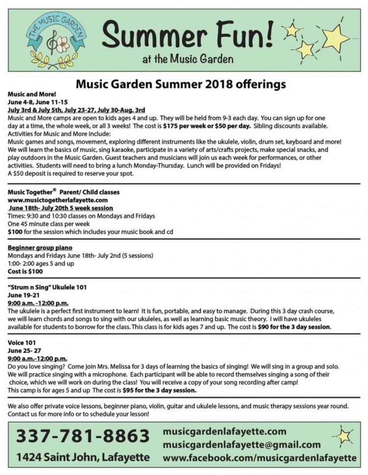 Music and More at The Music Garden (Weekly Classes)