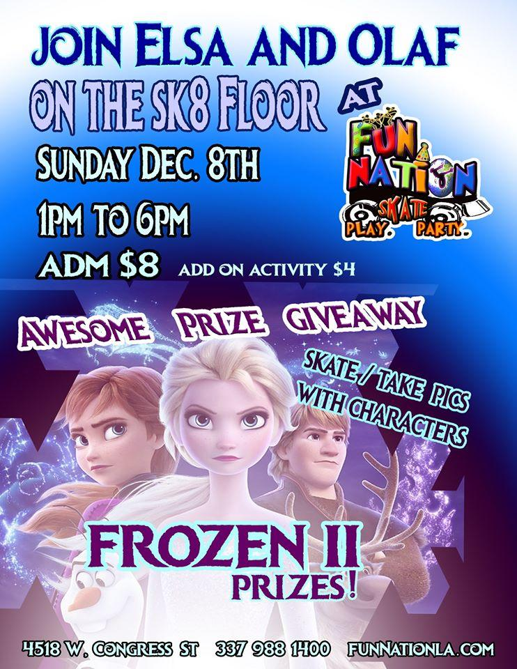 Join Elsa and Olaf on the Sk8 Floor at Fun Nation