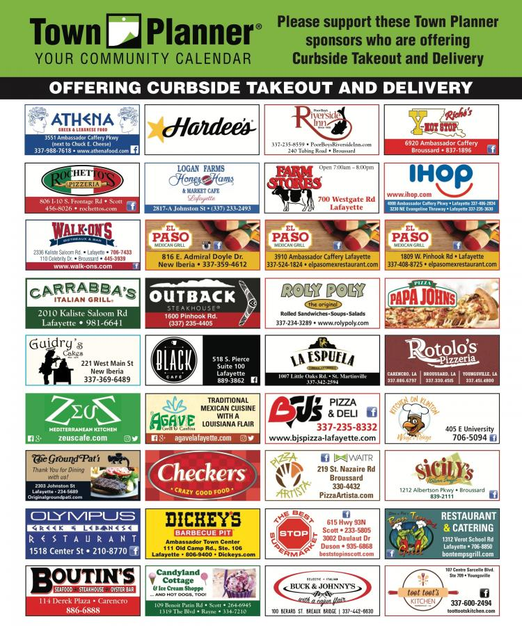 Please support your Town Planner Sponsors who are offering curbside takeout and
