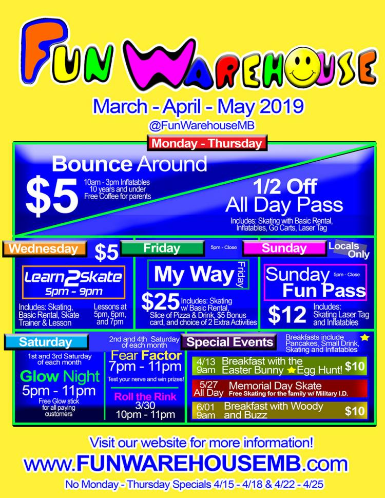 Click Open to see our April & May Specials at Fun Warehouse