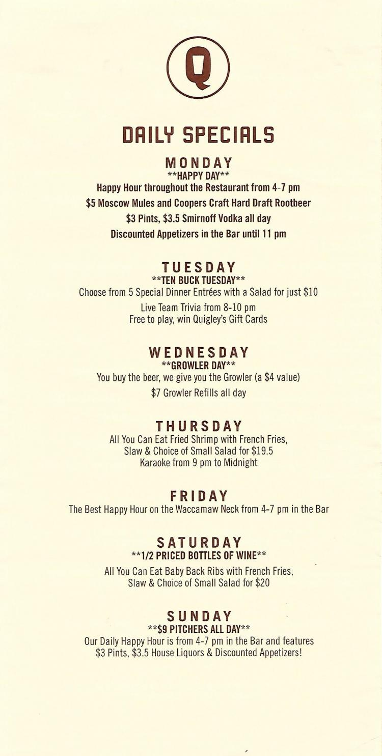 Quigley's Pint & Plate Happy Hour Drink Specials All Day Mondays throughout Rest