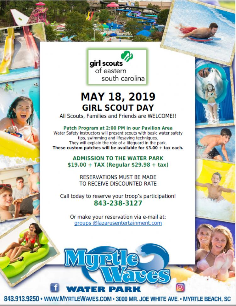Reservations being taken now for Girl Scout Day at Myrtle Waves on May 18th