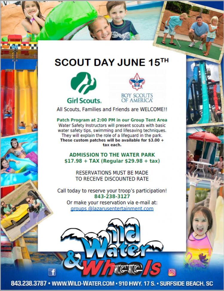 Reservations being taken now for Scout Day at Wild Water & Wheels on June 15th
