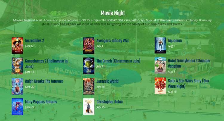 Dive In Movie Night at Myrtle Waves Water Park $9.95 + tax beginning at 5 PM