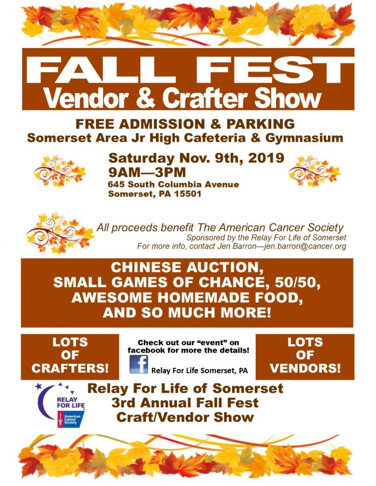 Relay For Life of Somerset Fall Fest Vendor/Crafter Show