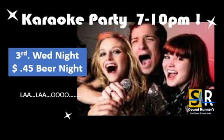 Karaoke Party with $.45 Beer Special!