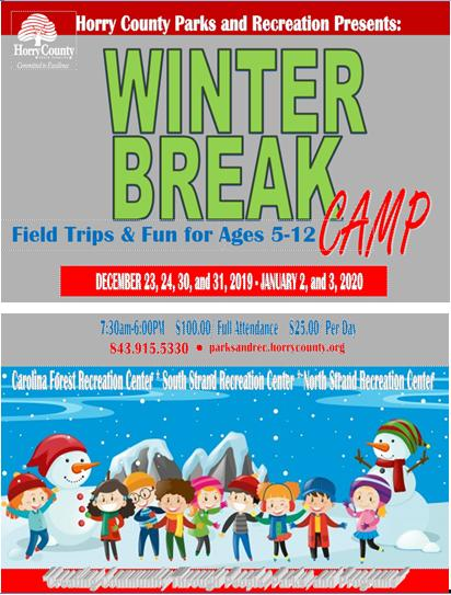 Registration Going On Now for Horry County Parks & Rec Winter Break Camps