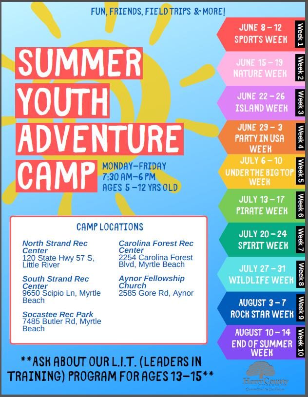 Registration Going On Now for Horry County Parks&Rec Summer Youth Camps