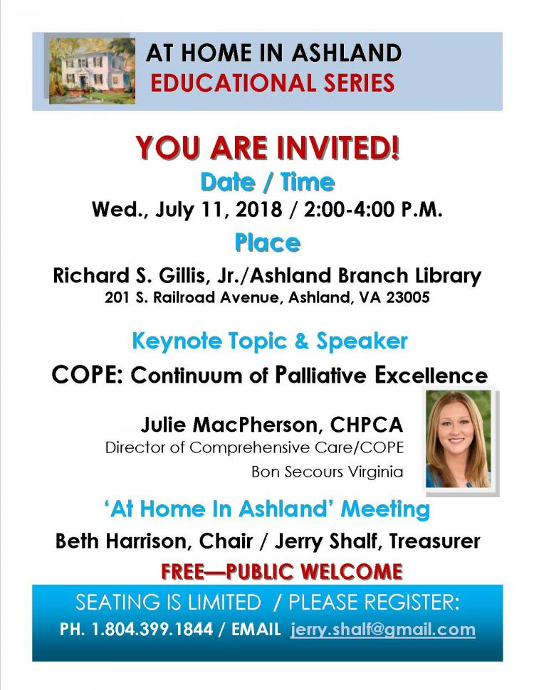 At Home In Ashland Educational Series