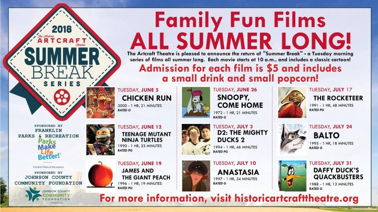 Summer Break - $5 films Tuesdays at the Historic Artcraft Theatre