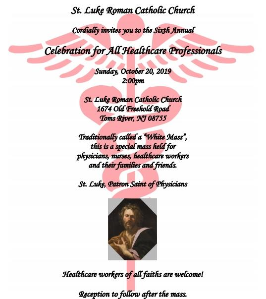 Healthcare Professionals Mass and Reception at St. Luke, Toms River