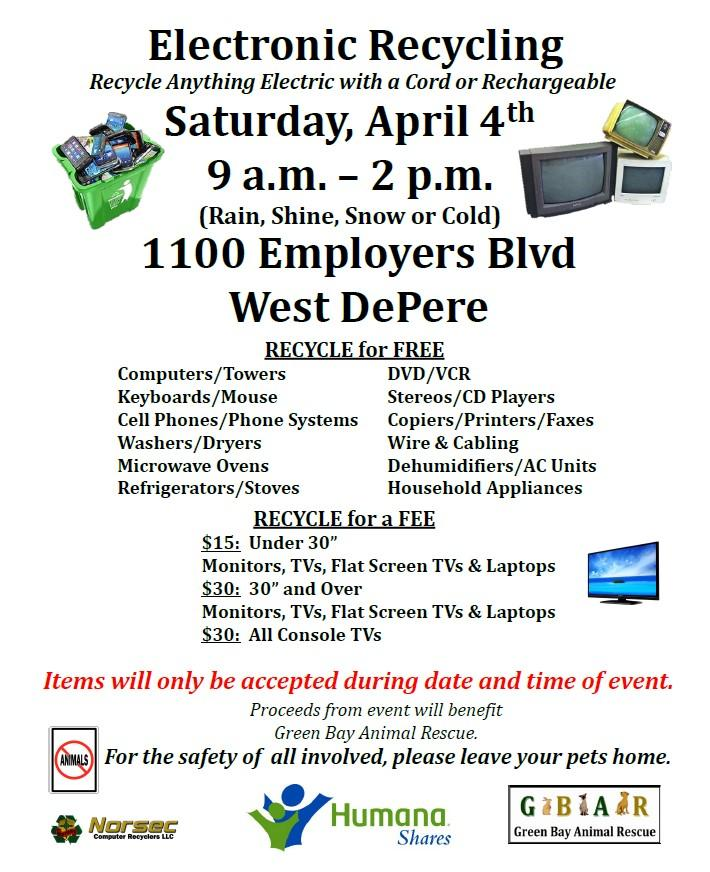 Green Bay Animal Rescue Electronic Recycling Fundraising Event