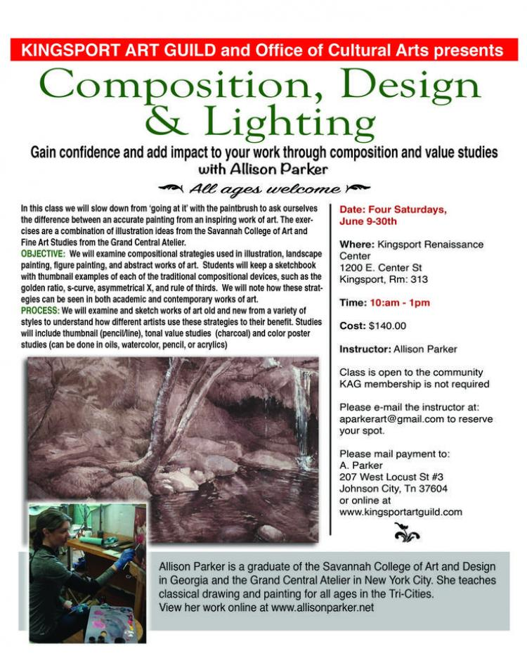 Composition, Design & Lighting with Allison Parker - Kingsport Art Guild