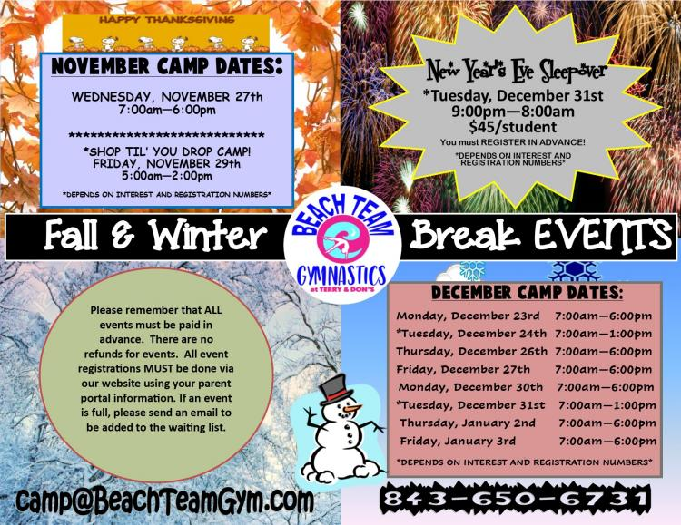 Reg. Going on now for Beach Team Gym Fall & Winter Break Camps
