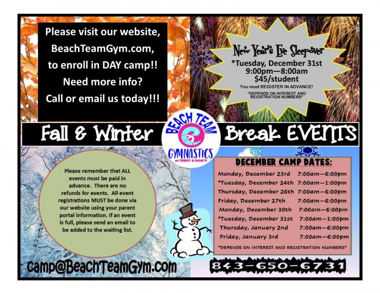 DAY CAMP/Winter Break Camp at Beach Team Gym@Terry & Dons