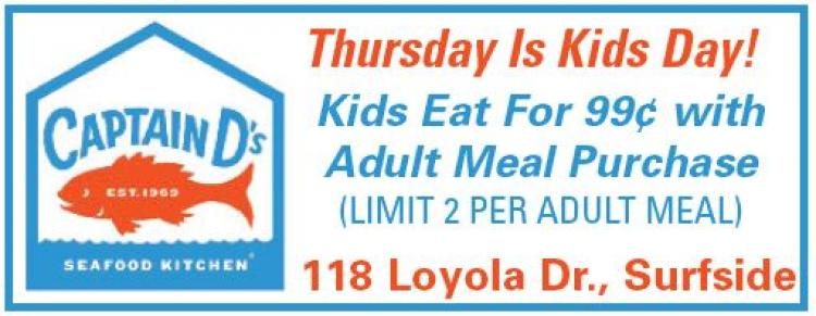 Every Thurs. is Kid's Day Captain D's Surfside - 99 Cent Kids Meals